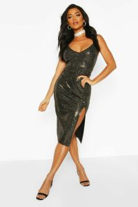 Womens Sequin Strappy Plunge Front Split Midi Dress - metallics - 16, Metallics