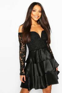 Womens Lace Plunge Satin Ra Ra Skater Dress - black - 12, Black