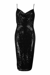 Womens Sequin Cowl Neck Side Split Midi Dress - black - 16, Black