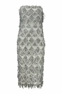 Womens Sequin Tassel Bandeau Midi Dress - grey - 8, Grey