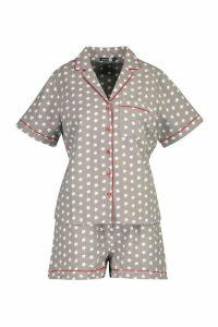 Womens Brushed Star Print Short Sleeve PJ Set - grey - 12, Grey