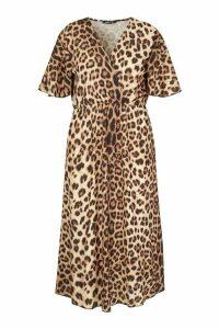 Womens Plus Leopard Wrap Angel Sleeve Maxi Dress - brown - 20, Brown