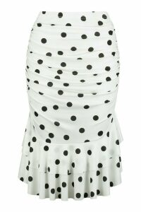 Womens Petite Polka Dot Ruched Mini Skirt - black - 14, Black