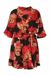 Womens Plus Floral Satin Ruffle Skater Dress - black - 20, Black