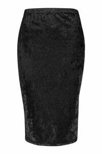 Womens Plus Crushed Velvet Midi Skirt - black - 20, Black