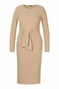Womens Plus Soft Rib Tie Front Midi Dress - beige - 20, Beige
