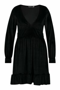 Womens Plus Velvet Plunge Ruffle Hem Skater Dress - black - 20, Black