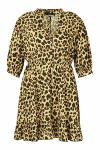 Womens Plus Leopard Ruffle High Neck Skater Dress - beige - 20, Beige
