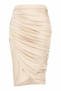 Womens Plus Disco Slinky Ruched Detail Midi Skirt - beige - 16, Beige