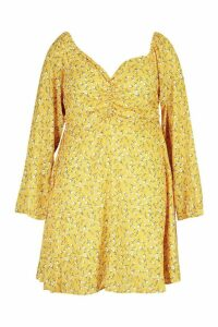 Womens Plus Ruched Puff Sleeve Floral Skater Dress - yellow - 20, Yellow