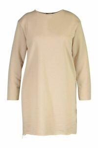 Womens Plus Oversized Lightweight Raw Hem Sweat Dress - beige - 24, Beige