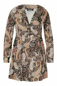Womens Plus Paisley Print Shirt Smock Dress - black - 20, Black