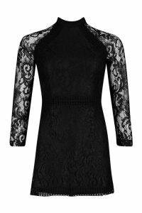Womens Petite Lace High Neck Bodycon Dress - black - 14, Black