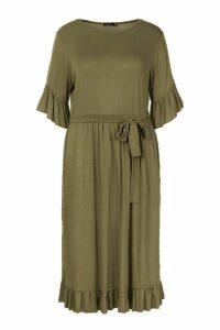 Womens Plus Ruffle Tie Waist Midi Smock Dress - green - 16, Green