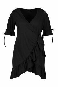 Womens Plus Soft Rib Ruffle Skater Dress - black - 20, Black