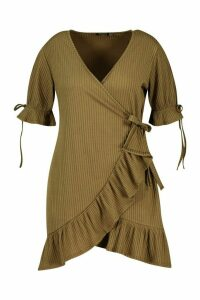 Womens Plus Soft Rib Ruffle Skater Dress - green - 20, Green