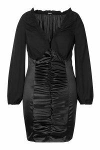 Womens Plus Chiffon Contrast Satin Ruched Mini Dress - black - 20, Black