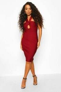 Womens Petite Sculpting Bandage Twist Detail Midi Dress - red - 14, Red