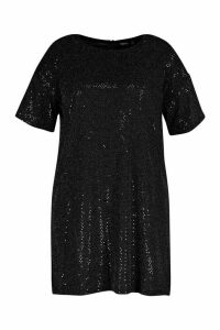 Womens Plus Sequin Mini Shift Dress - black - 20, Black