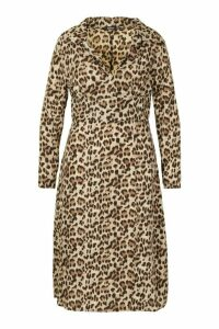 Womens Plus Leopard Shirt Midi Dress - brown - 24, Brown