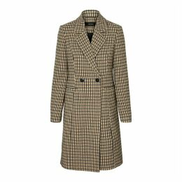 Long Checked Coat with Double-Breasted Button Fastening