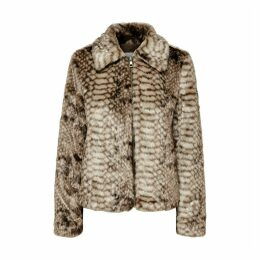Faux Fur Snake Print Jacket