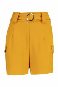 Womens Gold O Ring Pocket Side Shorts - yellow - 16, Yellow