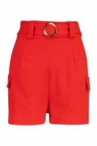 Womens Gold O Ring Pocket Side Shorts - red - 16, Red