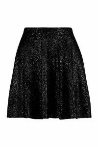 Womens Glitter Mini Skater Skirt - black - 14, Black