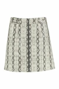 Womens Snake Leather Look A Line Mini Skirt - grey - 16, Grey
