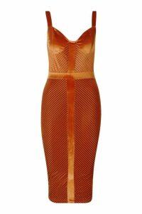 Womens Velvet Panelled Midi Dress - orange - 14, Orange