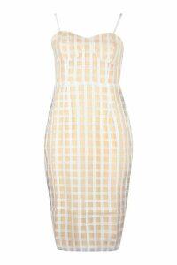 Womens Check Mesh Cupped Midi Dress - white - 14, White