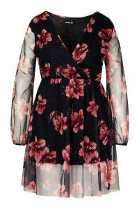 Womens Plus Floral Mesh Wrap Skater Dress - black - 24, Black