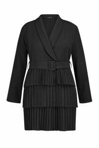 Womens Plus Belted Pleated Detail Blazer Dress - black - 20, Black