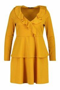 Womens Plus Ruffle Layered Long Sleeve Skater Dress - yellow - 20, Yellow