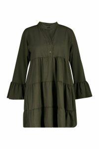 Womens Plus Tiered Longsleeve Smco Dress - green - 22, Green