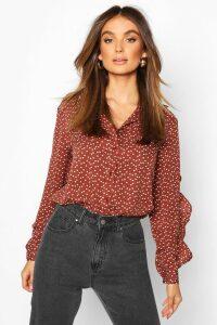 Womens Woven Heart Print Ruffle Detail Shirt - brown - 16, Brown