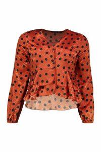 Womens Button Through Polka Dot Satin Blouse - orange - 12, Orange
