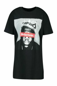 Womens Notorious Biggie Smalls Licensed T-Shirt Dress - black - 10, Black