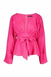 Womens Pleat Detail Wrap Blouse - pink - 14, Pink