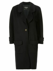 Chanel Pre-Owned cashmere slim-fit midi coat - Black