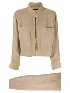 Chanel Pre-Owned 1999 stand-up collar skirt and jacket set - Brown