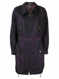 Chanel Pre-Owned silk iridescent belted lightweight coat - Purple