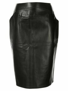 Chanel Pre-Owned 1999 leather pencil skirt - Black