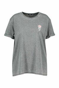Womens Plus Acid Wash Pocket Rose Print T-Shirt - grey - 20, Grey