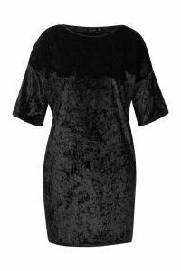 Womens Plus Oversized Crushed Velvet T-Shirt Dress - black - 24, Black
