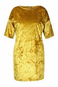 Womens Plus Oversized Crushed Velvet T-Shirt Dress - yellow - 20, Yellow