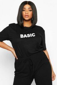Womens Plus 'Basic' T-Shirt - black - 24, Black