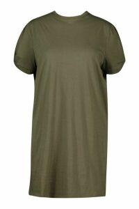 Womens Plus Ruched Knot Puff Sleeve T-Shirt Dress - green - 20, Green