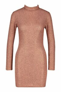 Womens Petite Rib Shimmer Knitted roll/polo neck Dress - metallics - 12, Metallics